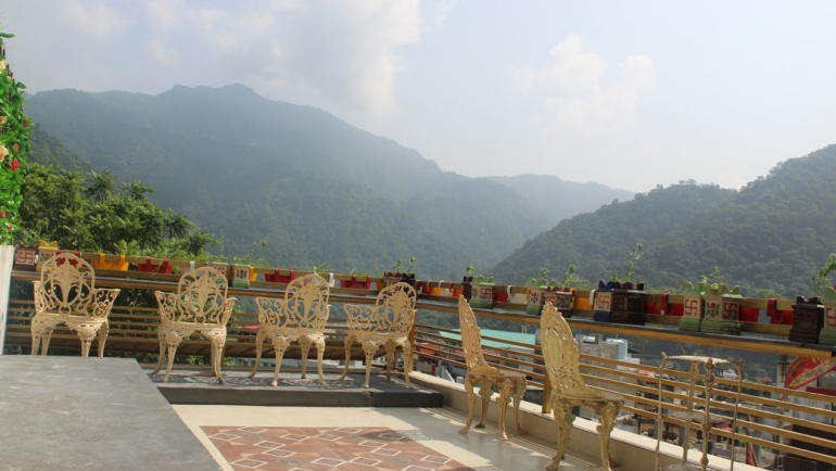 Beautiful Views from Veda5 Sky Cafe of Rishikesh and Himalayas India