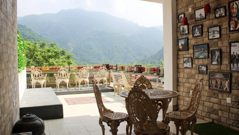 Enjoy delicious and nutritious food at Veda5 Sky Cafe watching beautiful views of Himalayas Rishikesh India